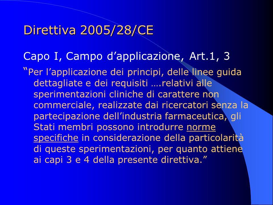 Direttiva 2005/28/CE Capo I, Campo dapplicazione, Art.1, 3 Per lapplicazione dei principi, delle linee guida dettagliate e dei requisiti ….relativi al