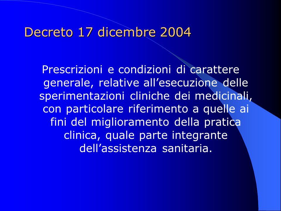 Decreto 17 dicembre 2004 Introduzione: Considerato che nellambito delle attività del Servizio sanitario nazionale vengono condotte sperimentazioni cliniche dei medicinali che non hanno finalità di lucro ma sono finalizzate al miglioramento della pratica clinica e come tali sono parte integrante dellassistenza sanitaria;