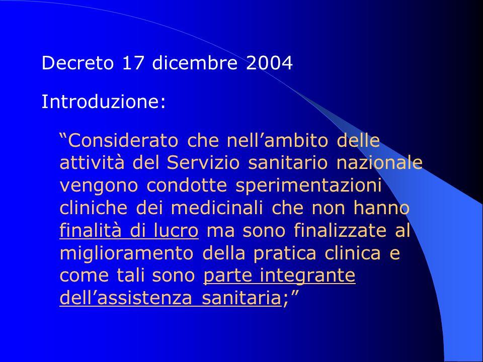 Decreto 17 dicembre 2004 Introduzione: Considerato che nellambito delle attività del Servizio sanitario nazionale vengono condotte sperimentazioni cli