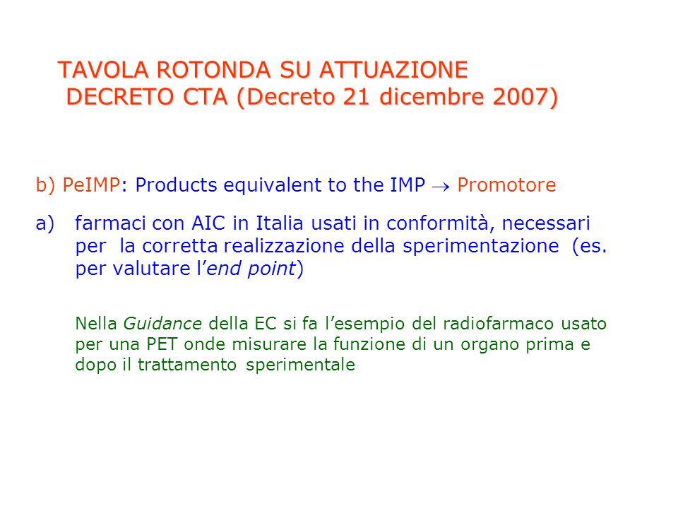 TAVOLA ROTONDA SU ATTUAZIONE DECRETO CTA (Decreto 21 dicembre 2007) b) PeIMP: Products equivalent to the IMP Promotore a)farmaci con AIC in Italia usa