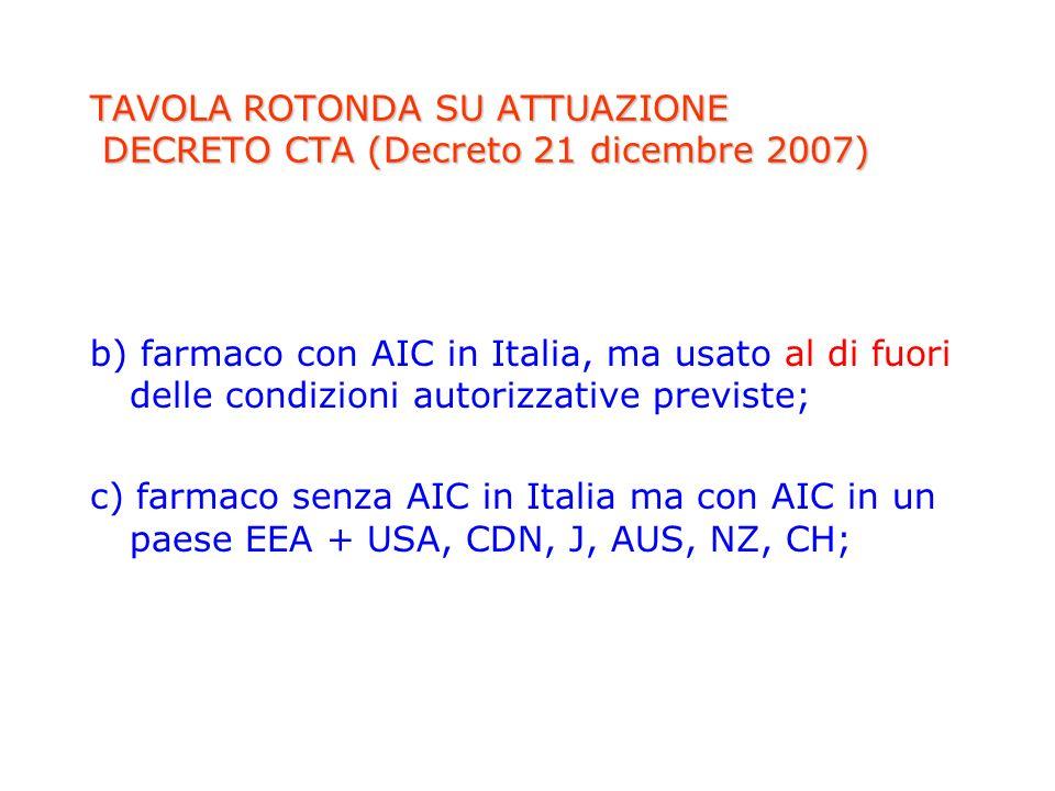 TAVOLA ROTONDA SU ATTUAZIONE DECRETO CTA (Decreto 21 dicembre 2007) b) farmaco con AIC in Italia, ma usato al di fuori delle condizioni autorizzative