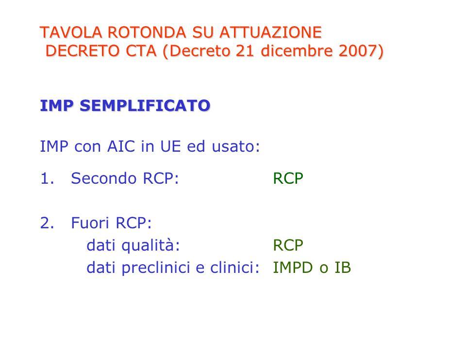 TAVOLA ROTONDA SU ATTUAZIONE DECRETO CTA (Decreto 21 dicembre 2007) IMP SEMPLIFICATO IMP con AIC in UE ed usato: 1.Secondo RCP:RCP 2.Fuori RCP: dati q