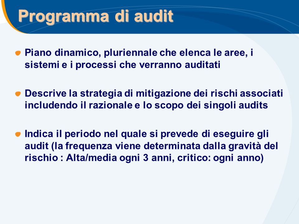 Programma di audit Piano dinamico, pluriennale che elenca le aree, i sistemi e i processi che verranno auditati Descrive la strategia di mitigazione d