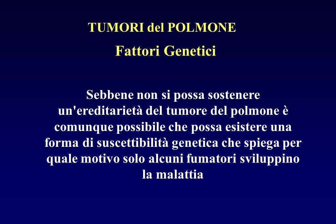 Fattori Genetici Sebbene non si possa sostenere un'ereditarietà del tumore del polmone è comunque possibile che possa esistere una forma di suscettibi