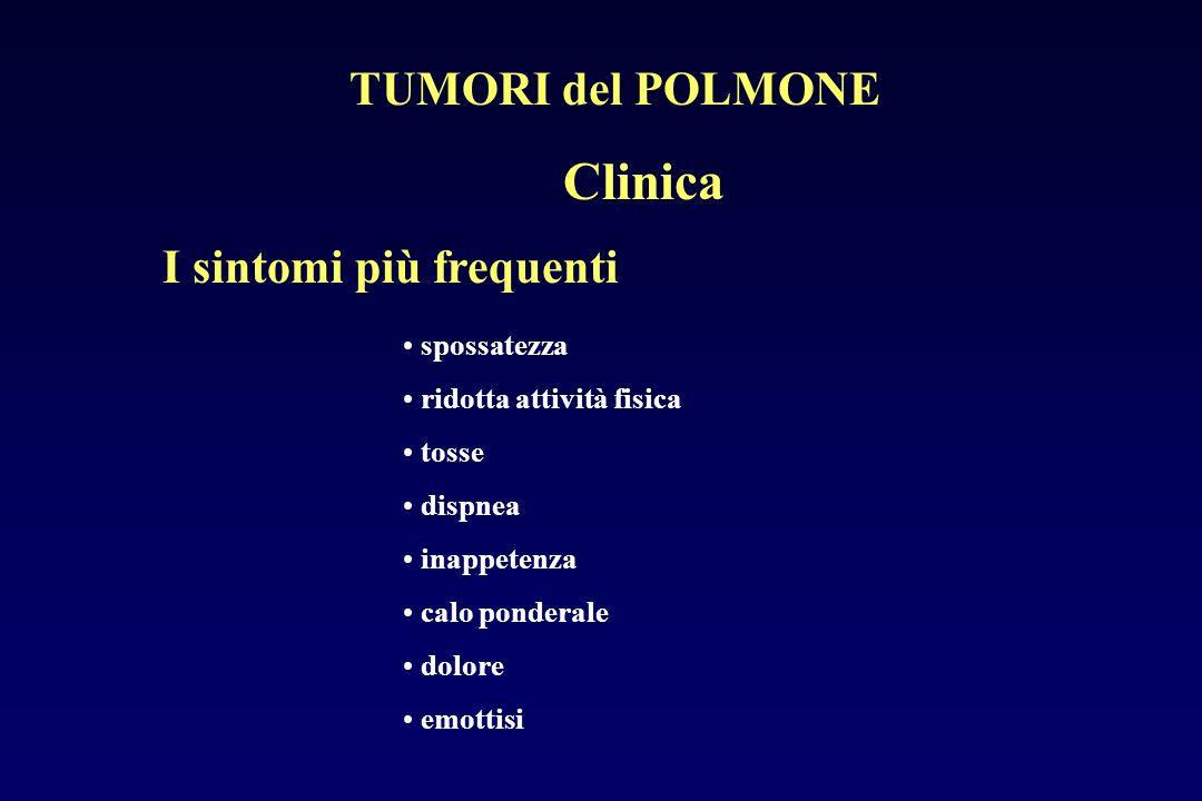 spossatezza ridotta attività fisica tosse dispnea inappetenza calo ponderale dolore emottisi I sintomi più frequenti TUMORI del POLMONE Clinica