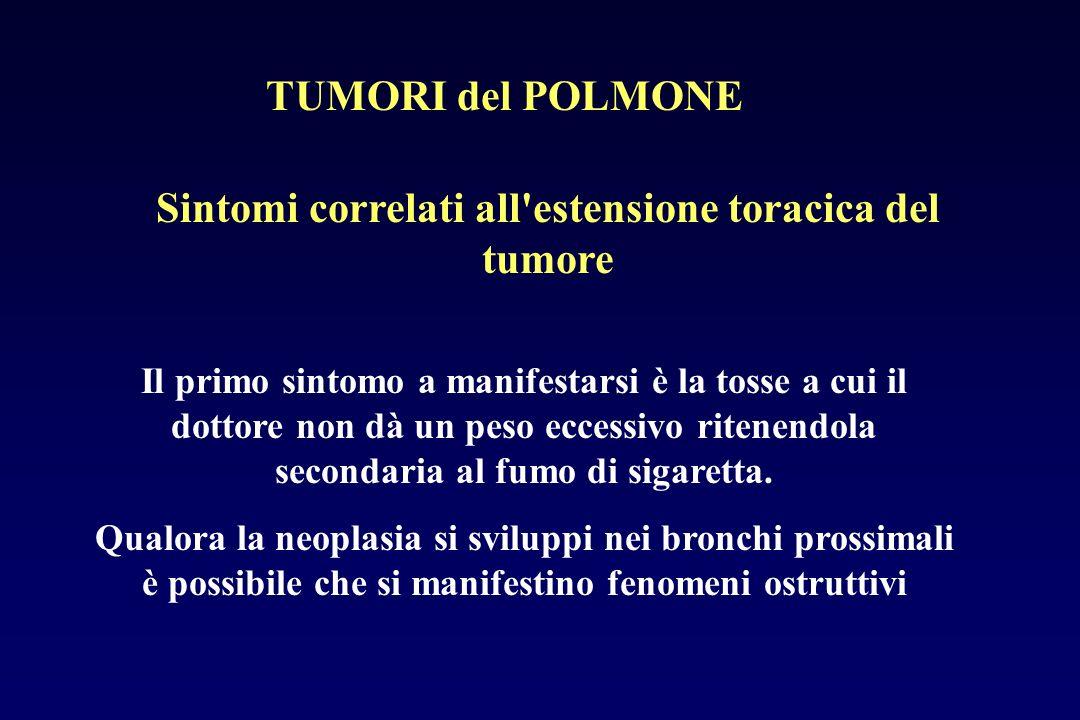 Sintomi correlati all'estensione toracica del tumore Il primo sintomo a manifestarsi è la tosse a cui il dottore non dà un peso eccessivo ritenendola