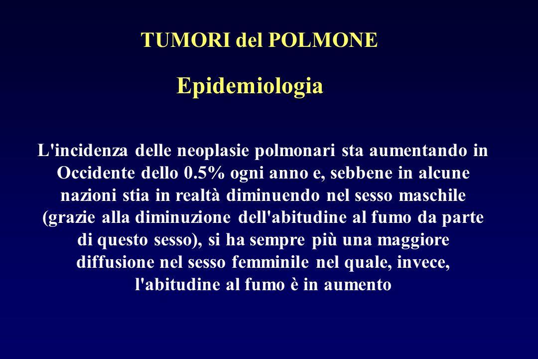Epidemiologia L'incidenza delle neoplasie polmonari sta aumentando in Occidente dello 0.5% ogni anno e, sebbene in alcune nazioni stia in realtà dimin