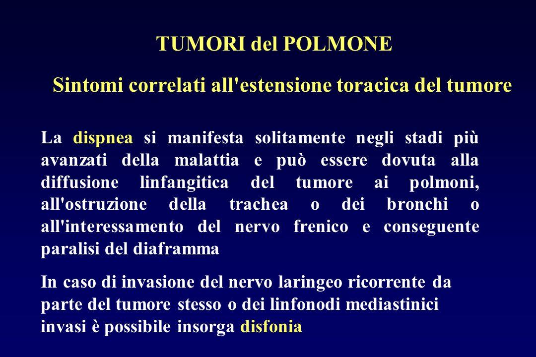 Sintomi correlati all'estensione toracica del tumore La dispnea si manifesta solitamente negli stadi più avanzati della malattia e può essere dovuta a