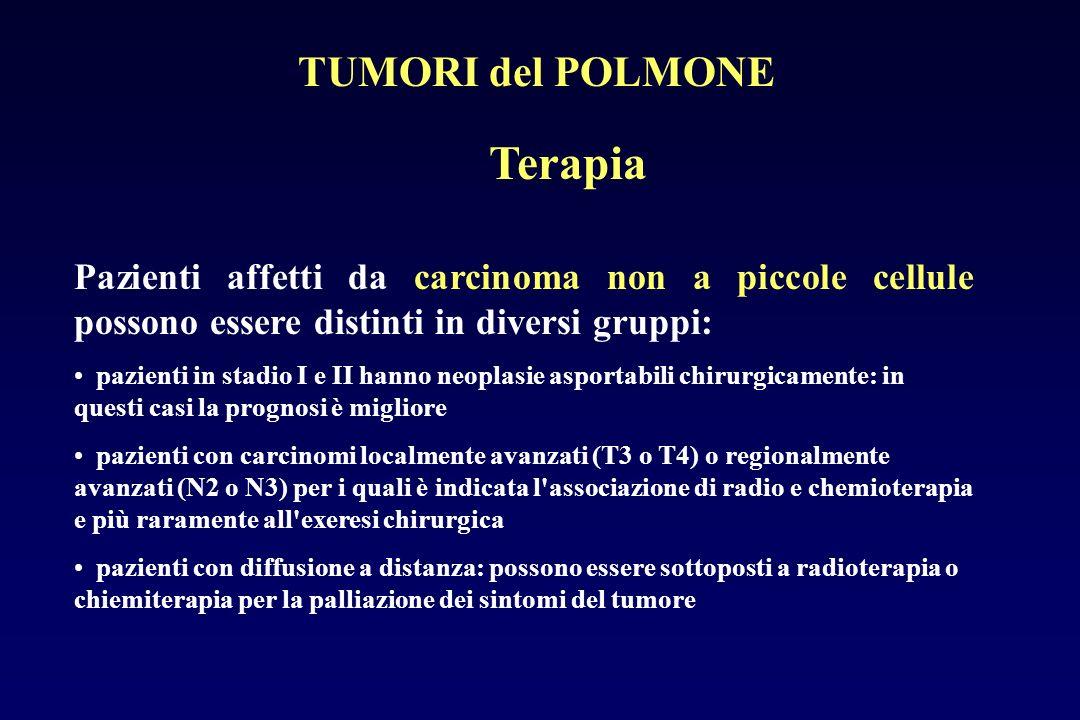 Terapia Pazienti affetti da carcinoma non a piccole cellule possono essere distinti in diversi gruppi: pazienti in stadio I e II hanno neoplasie aspor