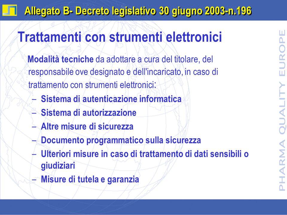 Trattamenti con strumenti elettronici Modalità tecniche da adottare a cura del titolare, del responsabile ove designato e dell'incaricato, in caso di