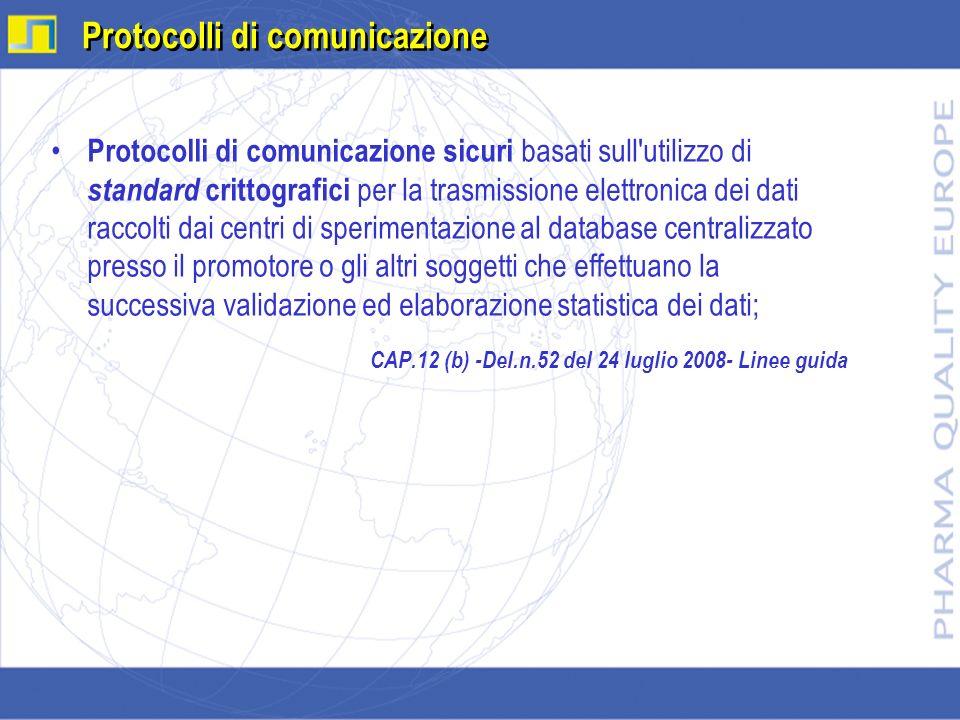 Protocolli di comunicazione sicuri basati sull'utilizzo di standard crittografici per la trasmissione elettronica dei dati raccolti dai centri di sper