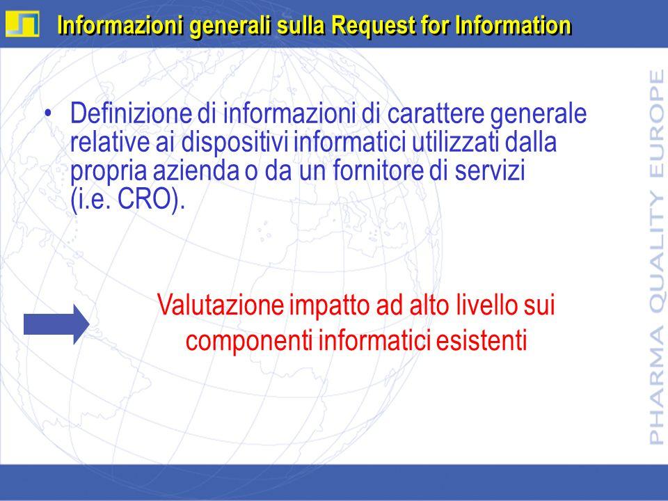 Definizione di informazioni di carattere generale relative ai dispositivi informatici utilizzati dalla propria azienda o da un fornitore di servizi (i