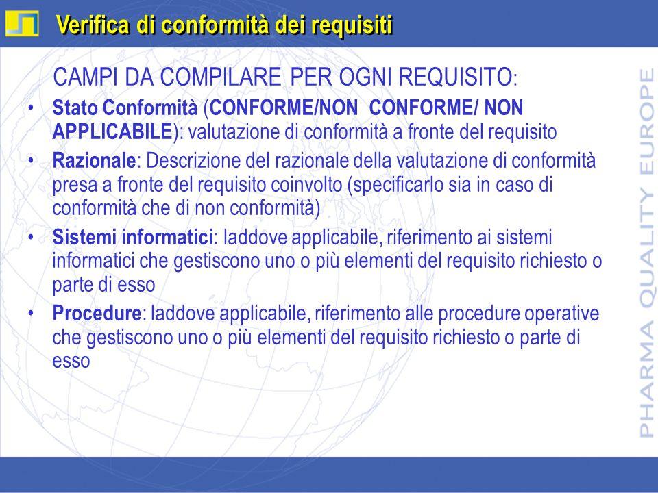 CAMPI DA COMPILARE PER OGNI REQUISITO : Stato Conformità ( CONFORME/NON CONFORME/ NON APPLICABILE ): valutazione di conformità a fronte del requisito
