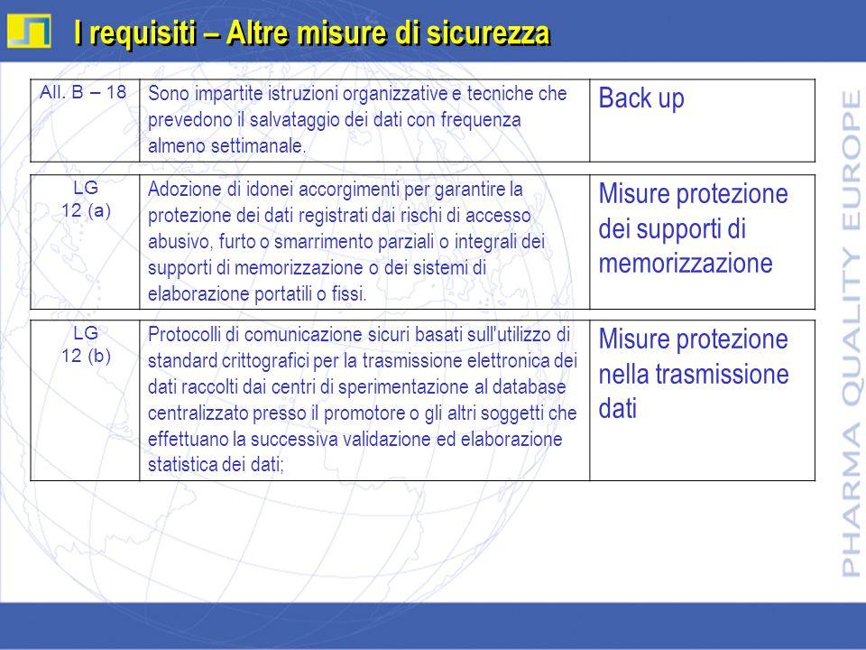 I requisiti – Altre misure di sicurezza LG 12 (a) Adozione di idonei accorgimenti per garantire la protezione dei dati registrati dai rischi di access