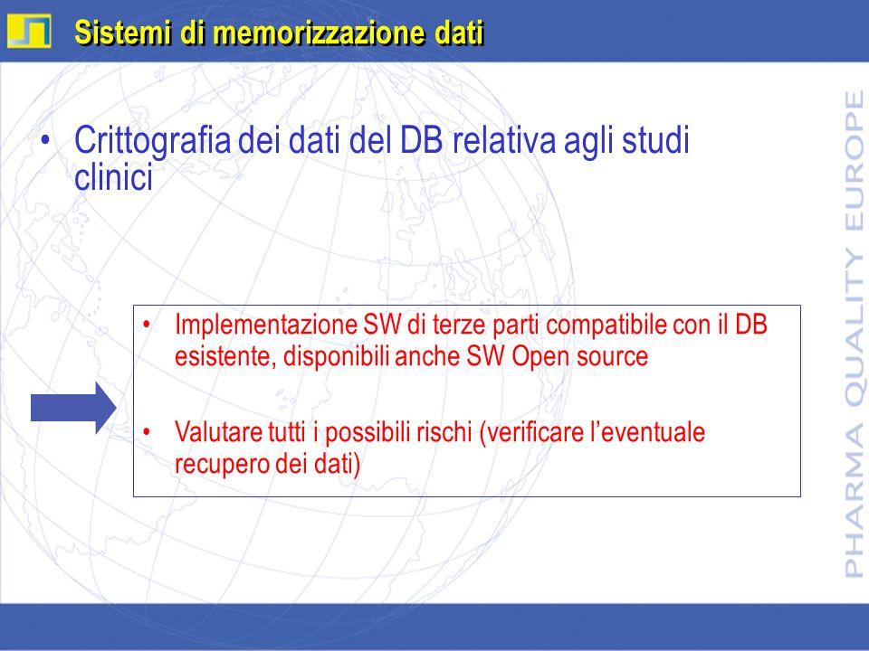 Crittografia dei dati del DB relativa agli studi clinici Sistemi di memorizzazione dati Implementazione SW di terze parti compatibile con il DB esiste