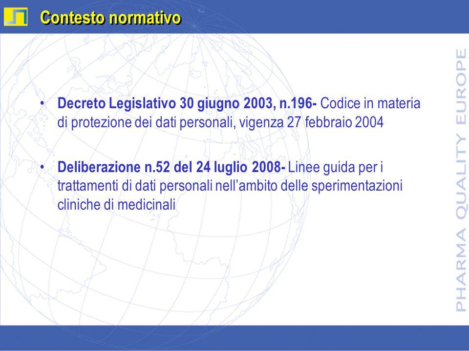 Decreto Legislativo 30 giugno 2003, n.196- Codice in materia di protezione dei dati personali, vigenza 27 febbraio 2004 Deliberazione n.52 del 24 lugl