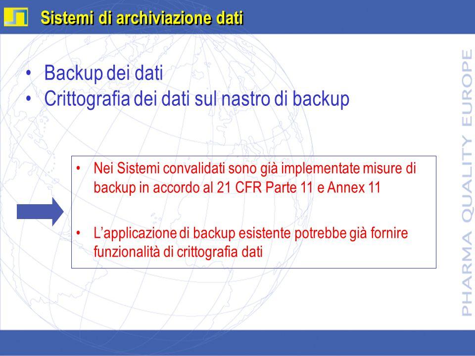 Backup dei dati Crittografia dei dati sul nastro di backup Sistemi di archiviazione dati Nei Sistemi convalidati sono già implementate misure di backu