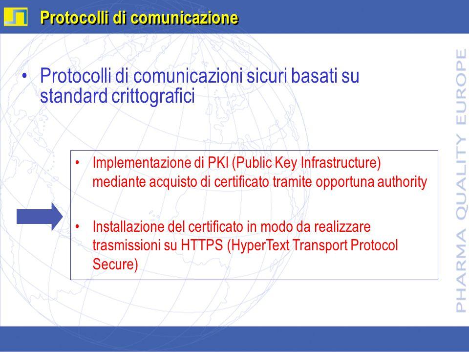 Protocolli di comunicazioni sicuri basati su standard crittografici Protocolli di comunicazione Implementazione di PKI (Public Key Infrastructure) med