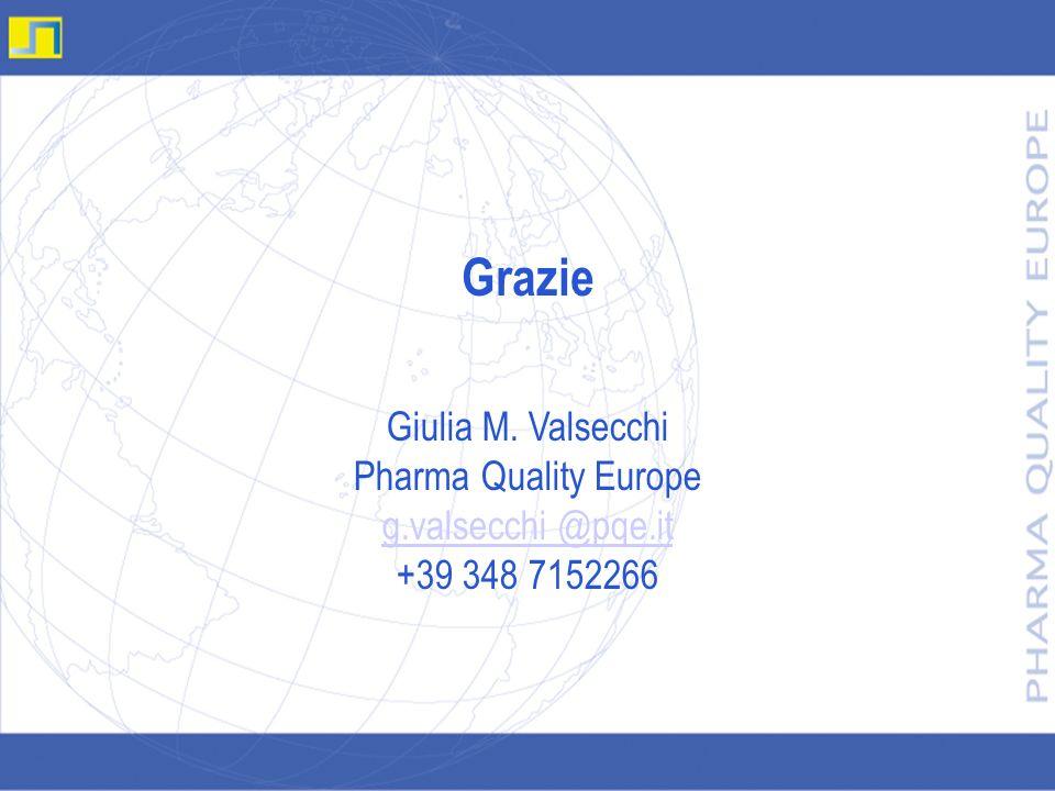 Grazie Giulia M. Valsecchi Pharma Quality Europe g.valsecchi @pqe.it +39 348 7152266 g.valsecchi @pqe.it