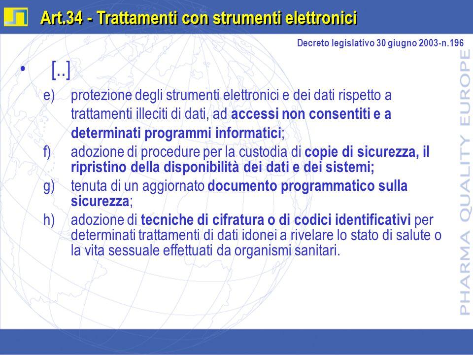 [..] e)protezione degli strumenti elettronici e dei dati rispetto a trattamenti illeciti di dati, ad accessi non consentiti e a determinati programmi