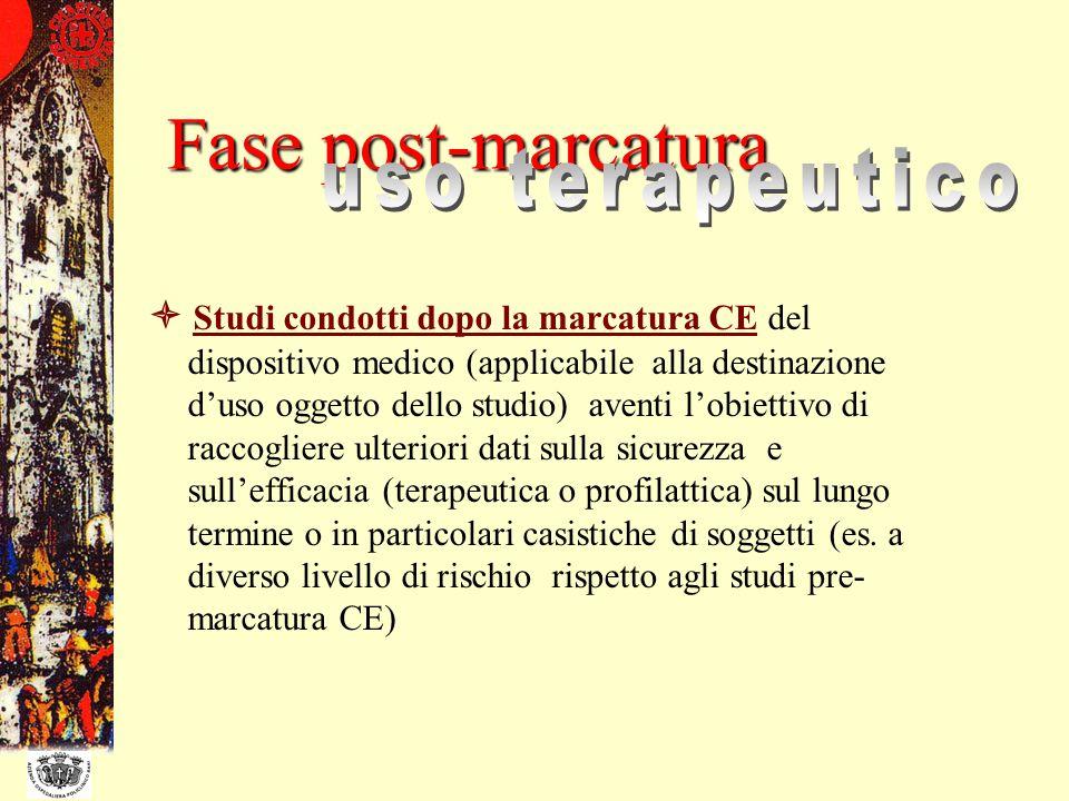 Studi condotti dopo la marcatura CE del dispositivo medico (applicabile alla destinazione duso oggetto dello studio) aventi lobiettivo di raccogliere