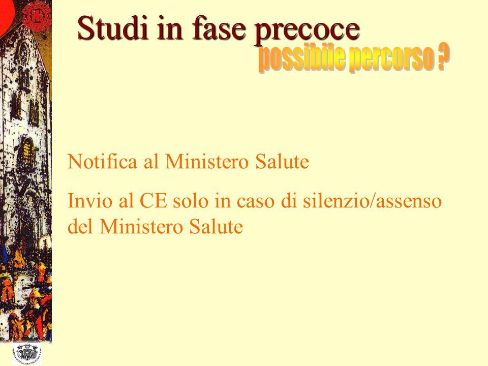 Studi in fase precoce Notifica al Ministero Salute Invio al CE solo in caso di silenzio/assenso del Ministero Salute