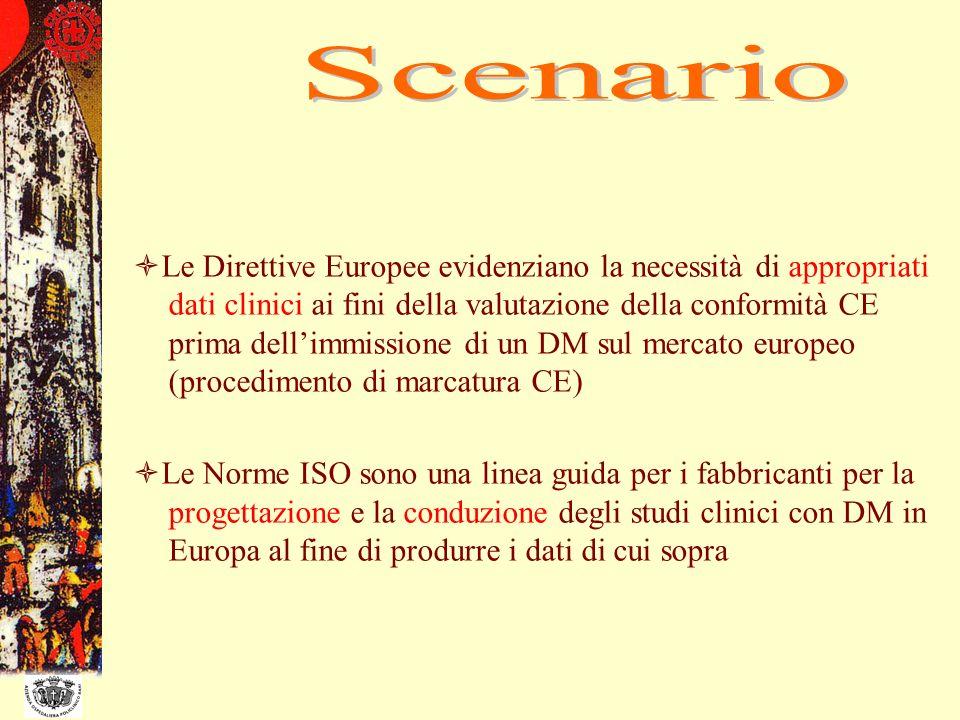 Le Direttive Europee evidenziano la necessità di appropriati dati clinici ai fini della valutazione della conformità CE prima dellimmissione di un DM