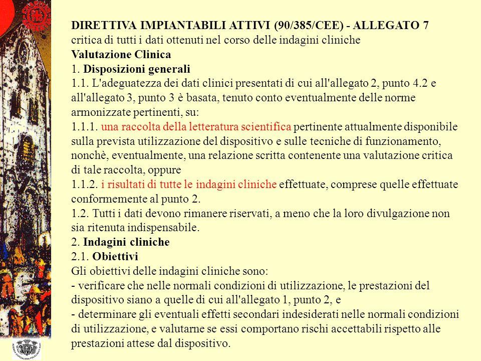 DIRETTIVA IMPIANTABILI ATTIVI (90/385/CEE) - ALLEGATO 7 critica di tutti i dati ottenuti nel corso delle indagini cliniche Valutazione Clinica 1. Disp