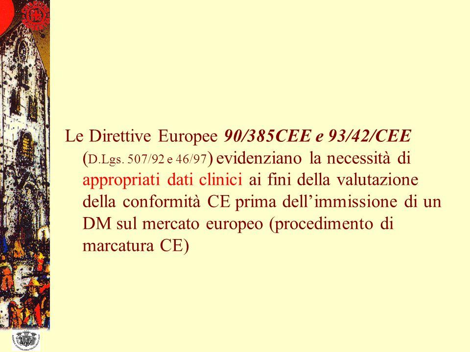 Le Direttive Europee 90/385CEE e 93/42/CEE ( D.Lgs. 507/92 e 46/97 ) evidenziano la necessità di appropriati dati clinici ai fini della valutazione de