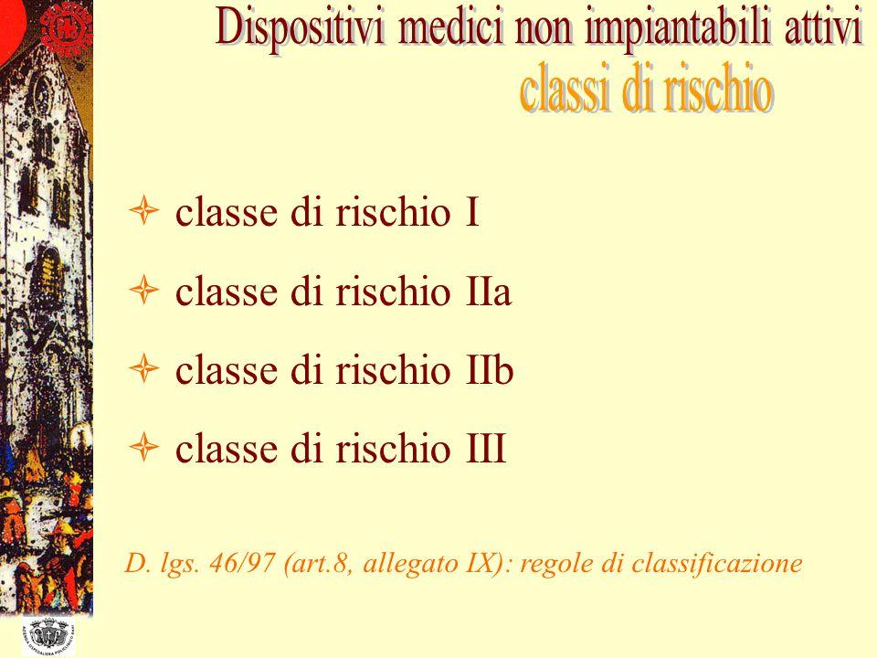 classe di rischio I classe di rischio IIa classe di rischio IIb classe di rischio III D. lgs. 46/97 (art.8, allegato IX): regole di classificazione