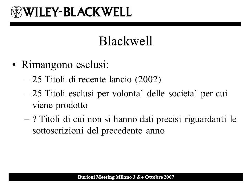 Ebsco Event 27 th September 2007 Milan Burioni Meeting Milano 3 &4 Ottobre 2007 Blackwell Rimangono esclusi: –25 Titoli di recente lancio (2002) –25 T