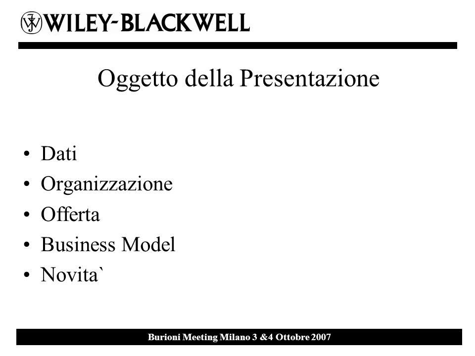 Ebsco Event 27 th September 2007 Milan Burioni Meeting Milano 3 &4 Ottobre 2007 Oggetto della Presentazione Dati Organizzazione Offerta Business Model