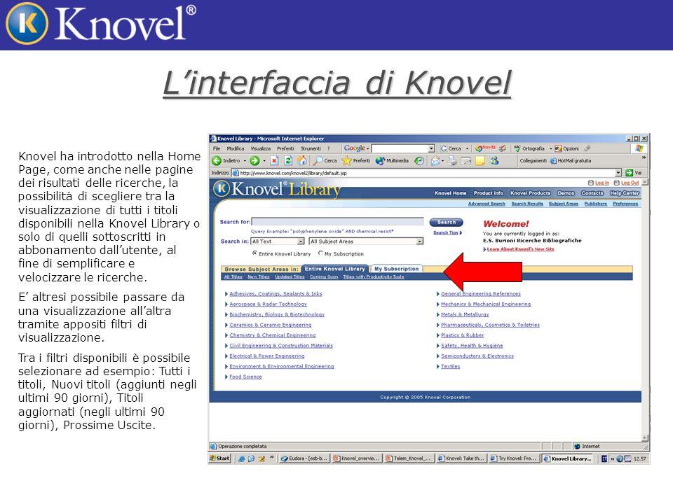 Linterfaccia di Knovel Knovel ha introdotto nella Home Page, come anche nelle pagine dei risultati delle ricerche, la possibilità di scegliere tra la visualizzazione di tutti i titoli disponibili nella Knovel Library o solo di quelli sottoscritti in abbonamento dallutente, al fine di semplificare e velocizzare le ricerche.