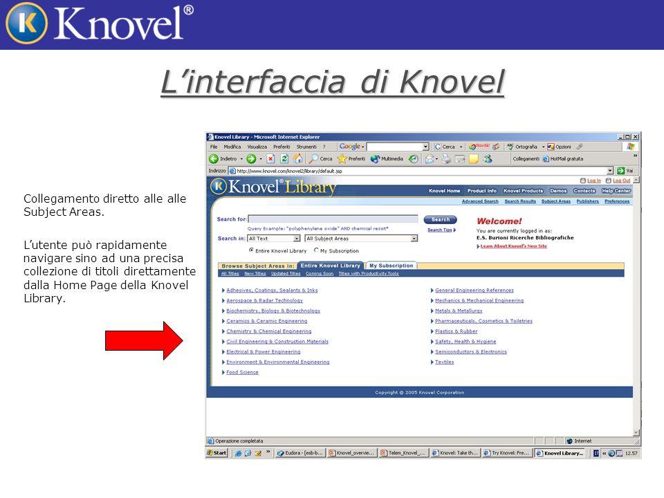 Linterfaccia di Knovel Collegamento diretto alle alle Subject Areas.