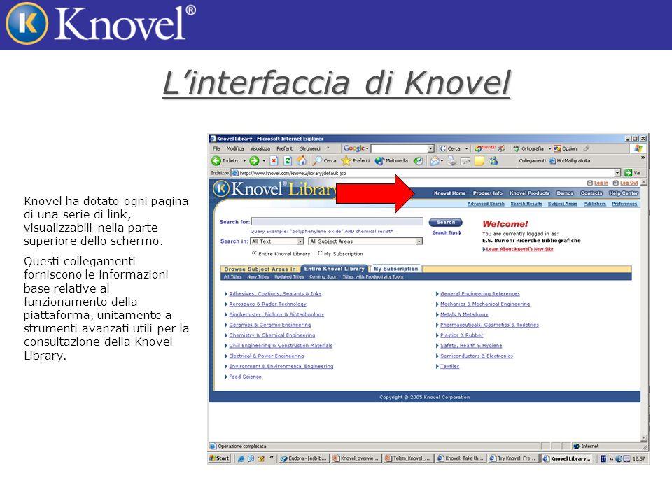 Linterfaccia di Knovel Knovel ha dotato ogni pagina di una serie di link, visualizzabili nella parte superiore dello schermo.