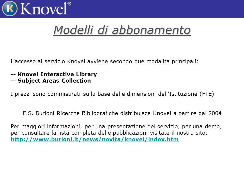 Modelli di abbonamento Laccesso al servizio Knovel avviene secondo due modalità principali: -- Knovel Interactive Library -- Subject Areas Collection I prezzi sono commisurati sulla base delle dimensioni dellIstituzione (FTE) E.S.