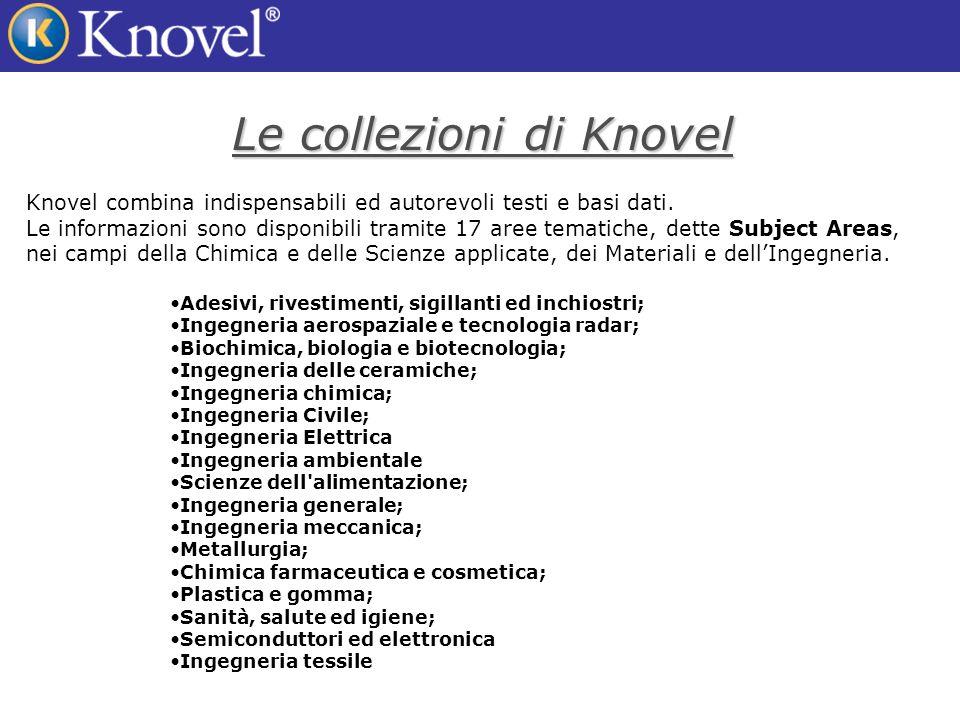 Le collezioni di Knovel Knovel combina indispensabili ed autorevoli testi e basi dati.