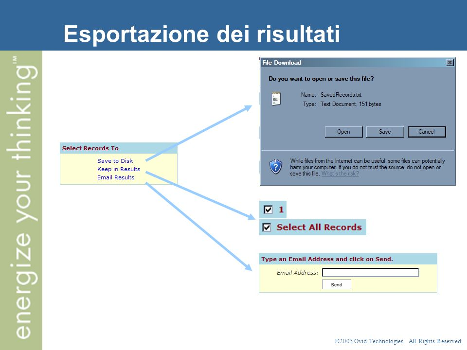 ©2005 Ovid Technologies. All Rights Reserved. Esportazione dei risultati