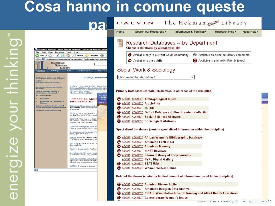 ©2005 Ovid Technologies. All Rights Reserved. Cosa hanno in comune queste pagine web?