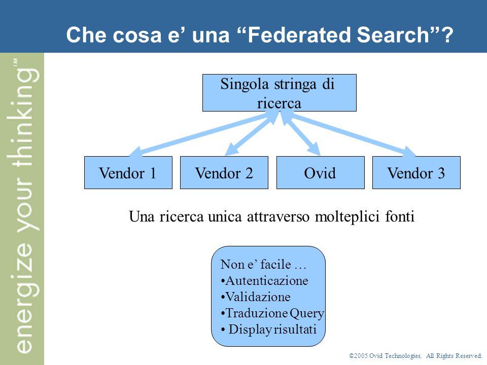 ©2005 Ovid Technologies.All Rights Reserved. Perche un sistema di Federated Search e importante.