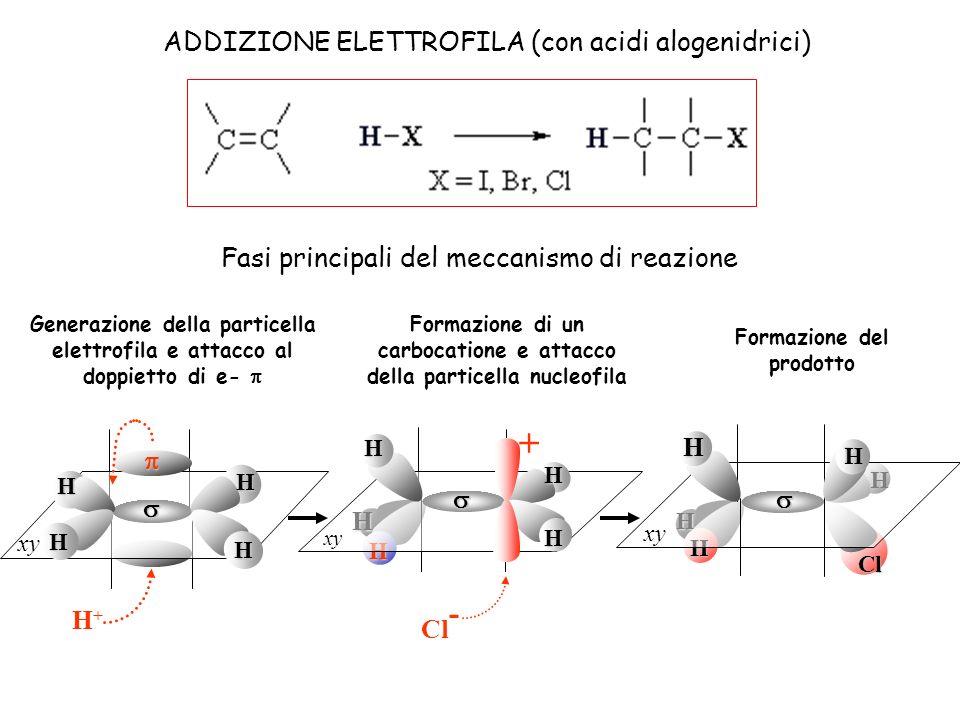 H H H xy H H H H H+H+ H H H H H Cl - + xy H H Cl ADDIZIONE ELETTROFILA (con acidi alogenidrici) Fasi principali del meccanismo di reazione Generazione