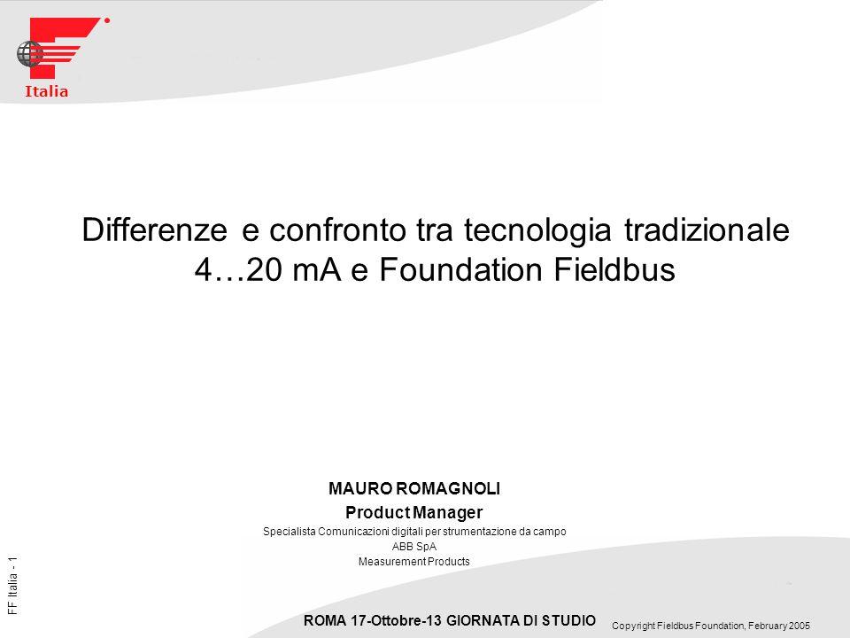 FF Italia - 2 ROMA 17-Ottobre-13 GIORNATA DI STUDIO Copyright Fieldbus Foundation, February 2005 Italia Cosè Fieldbus Foundation Un Protocollo di comunicazione digitale aperto progettato per soddisfare le necessità dellIndustria di Processo Bidirezionale Multidrop per utilizzo anche in aree classificate Suddiviso in Bus H1 per il campo e HSE (High Speed Ethernet) Bus H1 o a bassa velocità ha caratteristiche per il controllo di processo: Standard IEC 61158-2 Velocità fissa a 31,25 kBit/sec (Bus H1) Alimentazione 9-32 Vdc Comunicazione ed alimentazione su 2 fili (Loop-Power) Max Lunghezza della linea (doppino) circa 1900 m ** Max numero di strumenti per linea suggeriti 14/16 per la specifica 32 Bus HSE o ad alta velocità ha caratteristiche per lautomazione di fabbrica ** max lunghezza dipende da diversi fattori quali topologia di rete, tipo di cavo, numero di strumenti etc…etc