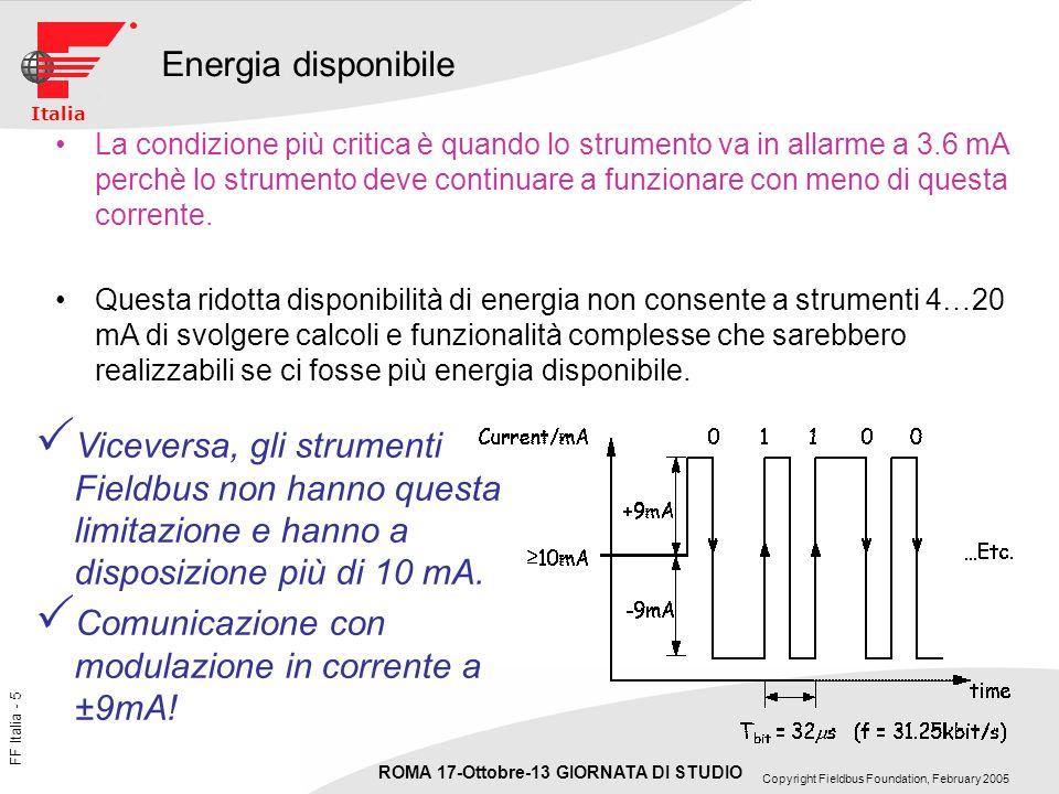 FF Italia - 36 ROMA 17-Ottobre-13 GIORNATA DI STUDIO Copyright Fieldbus Foundation, February 2005 Italia Sommario del confronto Sparisce il segnale duscita 4…20 mA e relativo convertitore D to A La funzione dellI/O Card che, in sala controllo, converte il segnale 4…20 mA in formato digitale migra allinterno del trasmettitore stesso…… La misura è trasmessa in formato ingegneristico (es: 27.5 °C o 300.45 mbar) Non è indispensabile settare un campo di misura o duscita in quanto lo strumento fieldbus misura e trasmette in formato digitale tutto quello che è allinterno dei limiti fisici del sensore……il settaggio del campo duscita serve: –Se si vuole leggere la misura in percentuale del campo di misura –Se la misura è derivata, ad esempio una Portata misurata con un dP –Come semplice informazione per lutente o il DCS ma non ha effetto sui calcoli