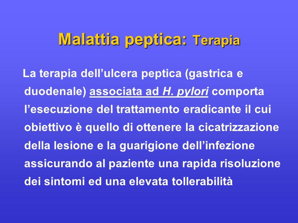 La terapia dellulcera peptica (gastrica e duodenale) associata ad H. pylori comporta lesecuzione del trattamento eradicante il cui obiettivo è quello