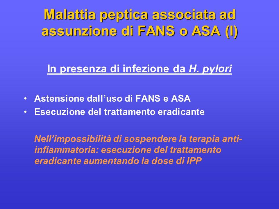 Malattia peptica associata ad assunzione di FANS o ASA (I) In presenza di infezione da H. pylori Astensione dalluso di FANS e ASA Esecuzione del tratt
