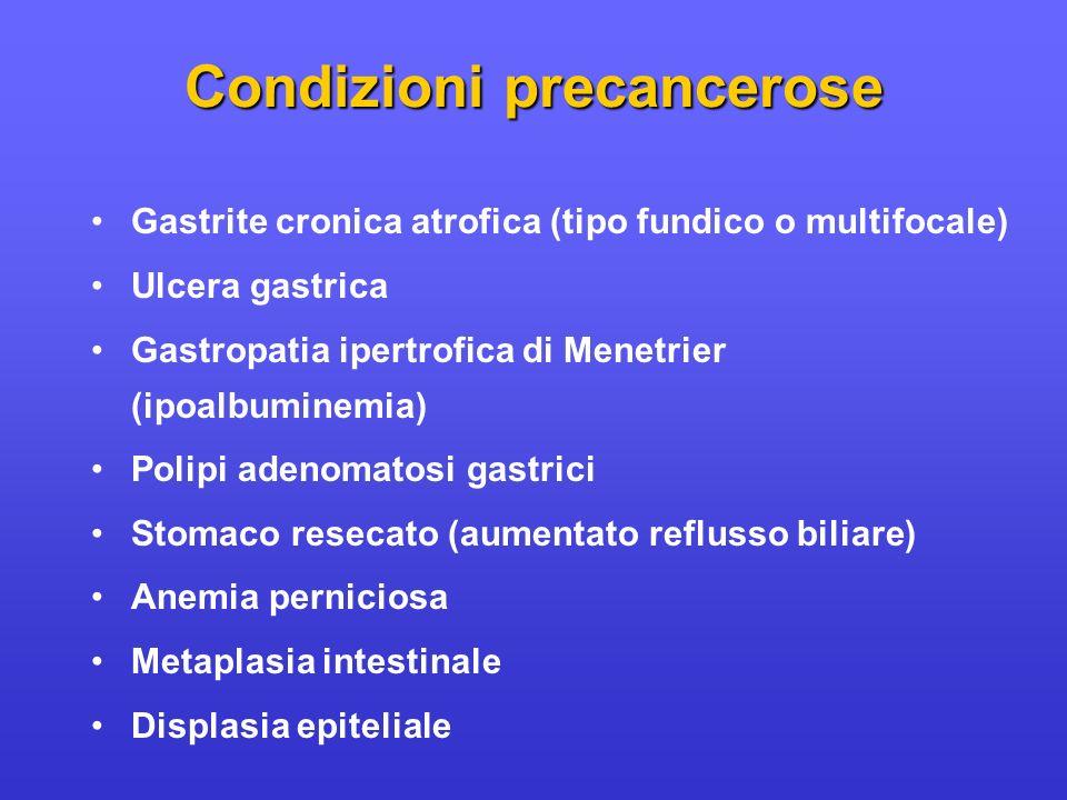 Gastrite cronica atrofica (tipo fundico o multifocale) Ulcera gastrica Gastropatia ipertrofica di Menetrier (ipoalbuminemia) Polipi adenomatosi gastri