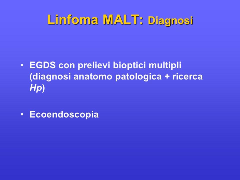 EGDS con prelievi bioptici multipli (diagnosi anatomo patologica + ricerca Hp) Ecoendoscopia Linfoma MALT: Diagnosi