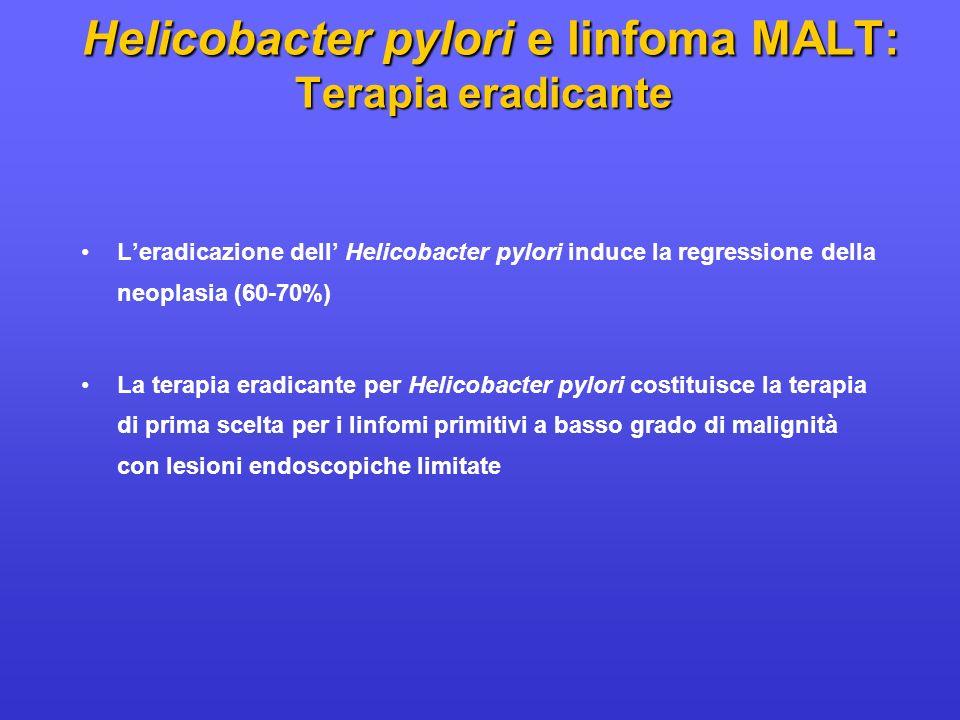 Leradicazione dell Helicobacter pylori induce la regressione della neoplasia (60-70%) La terapia eradicante per Helicobacter pylori costituisce la ter
