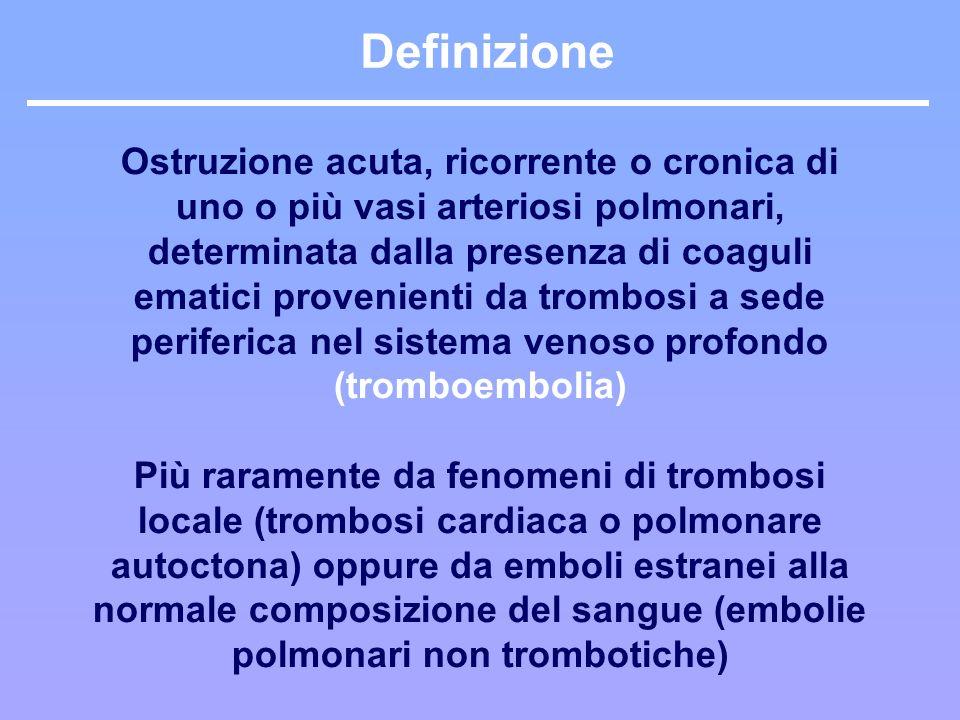 Eziologia: origine del trombo TROMBOSI VENOSA PROFONDA la maggior parte degli emboli trombotici deriva dal distretto della vena cava inferiore (70-90%) ed in particolare delle vene femorali ed iliache e dalle vene pelviche (plessi periprostatici e periuterini) nel 10-20% dei casi lorigine è il distretto della vena cava superiore le cavità cardiache destre raramente costituiscono la sede di origine