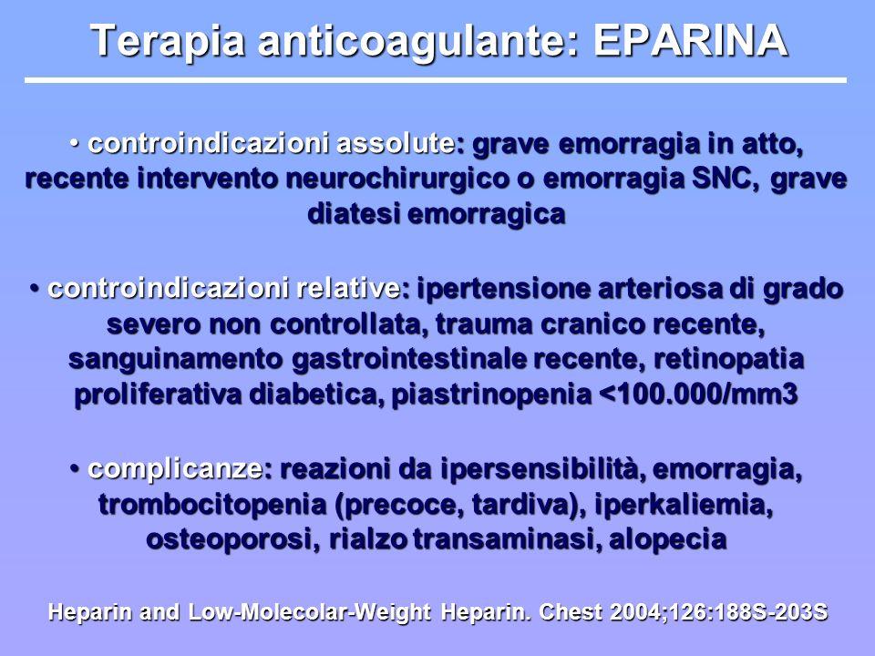 Terapia anticoagulante: EPARINA controindicazioni assolute: grave emorragia in atto, recente intervento neurochirurgico o emorragia SNC, grave diatesi